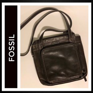 Fossil Chocolate Brown Leather Crossbody Bag